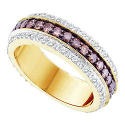 1.43 CTW Cognac-brown Color Diamond Ring 14KT Yellow Gold - REF-82N4F
