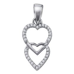 0.10 CTW Diamond Double Hanging Heart Pendant 10KT White Gold - REF-6X2Y