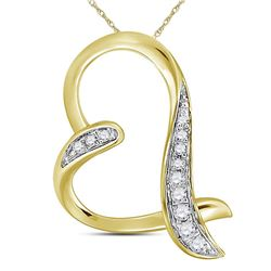 0.07 CTW Diamond Heart Pendant 10KT Yellow Gold - REF-6X6Y