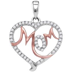 0.30 CTW Diamond Mom Mother Heart Pendant 10KT White Gold - REF-19Y4X