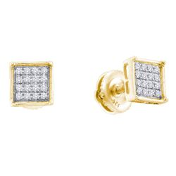 0.10 CTW Diamond Square Cluster Earrings 14KT Yellow Gold - REF-12F2N