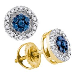 0.25 CTW Blue Color Diamond Circle Cluster Earrings 10KT Yellow Gold - REF-19Y4X