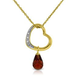 Genuine 2.28 ctw Garnet & Diamond Necklace Jewelry 14KT Yellow Gold - REF-40R7P