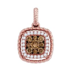 0.36 CTW Brown Diamond Square Cluster Pendant 14KT Rose Gold - REF-41M9H