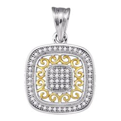 0.15 CTW Diamond Square Pendant 10KT Two-tone Gold - REF-19M4H