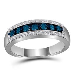 0.50 CTW Blue Color Diamond Ring 10KT White Gold - REF-41N9F