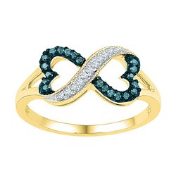 0.16 CTW Blue Color Diamond Infinity Heart Ring 10KT Yellow Gold - REF-18F2N