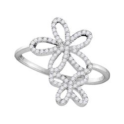 0.20 CTW Diamond Flower Star Cluster Ring 10KT White Gold - REF-22K4W