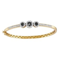 1.05 CTW Black Color Diamond Triple Cluster Bangle Bracelet 14KT Yellow Gold - REF-109N4F