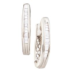 0.27 CTW Diamond Hoop Earrings 14KT White Gold - REF-26Y9X