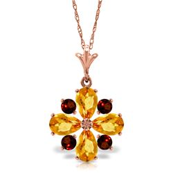 Genuine 2.43 ctw Citrine & Garnet Necklace Jewelry 14KT Rose Gold - REF-29W7Y