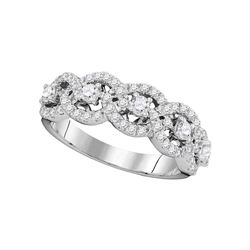 0.96 CTW Pave-set Diamond Linked Circle Ring 14KT White Gold - REF-89X9Y
