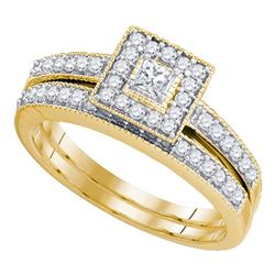 0.46 CTW Princess Diamond Bridal Engagement Ring 10KT Yellow Gold - REF-52W4K