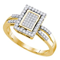 0.30 CTW Diamond Rectangle Cluster Ring 10KT Yellow Gold - REF-34M4H