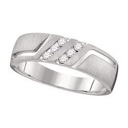 0.15 CTW Mens Diamond Wedding Anniversary Ring 14k White Gold - REF-52H4M