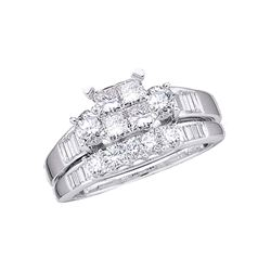 1 CTW Princess Diamond Bridal Engagement Ring 10KT White Gold - REF-75H2M