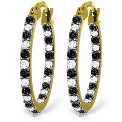 Genuine 0.81 ctw White & Black Diamond Earrings Jewelry 14KT Yellow Gold - REF-116W6Y