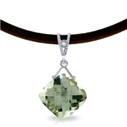 Genuine 8.76 ctw Green Amethyst & Diamond Necklace Jewelry 14KT White Gold - REF-30Y6F