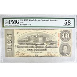 1863 $10 CONFEDERATE STATES OF AMERICA T-59