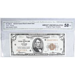 1929 $5 FEDERAL RESERVE BANK NOTE FR-1850-G