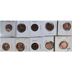 10-OFF CENTER LINCOLN CENTS NEAT LOT