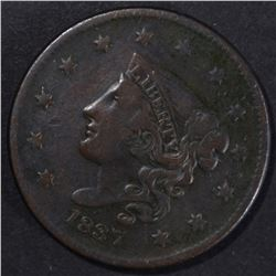 1837 LARGE CENT XF