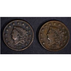 2-1831 LARGE CENTS: 1-FINE & 1-VF/light scratches