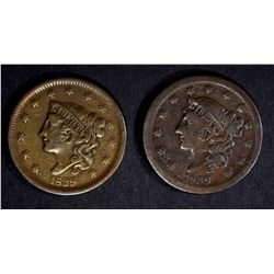 2-1839 LARGE CENTS: 1-FINE & 1-VF