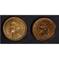 1905 & 1907 INDIAN CENTS, CH BU