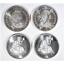 """2-BUST & 2-""""SEATED LIBERTY"""" 1oz ,999 SILVER ROUNDS"""