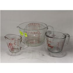3 ASSORTED PYREX MEASURING CUPS