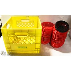 CRATE W/ 33 PLASTIC FOOD BASKETS