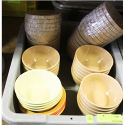 "BUS PAN OF ASSORTED 5"" MISTRO/CAMBRO PLASTIC BOWLS"