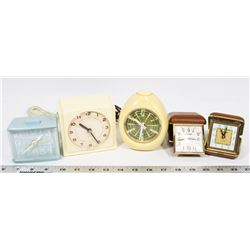 LOT OF VINTAGE ALARM CLOCKS.