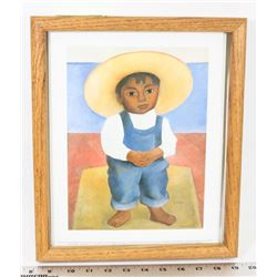 DIEGO RIVERA FRAMED REPLICA PICTURE OF A BOY.