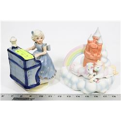 UNICORN AND GIRL PLAYING PIANO MUSIC BOXES