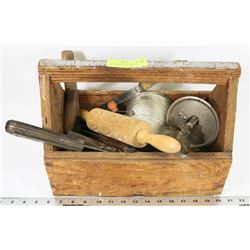 VINTAGE WOOD HANDYMAN BOX FILLED WITH COLLECTIBLE