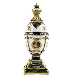 """8.5"""" Imperial Eagle Faberge Inspired Russian Egg"""