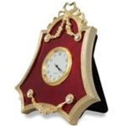 """4"""" Faberge-Inspired Red Enameled Guilloche Russian Antique Style Clock"""