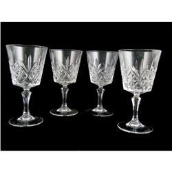 Pineapple Design Cut Crystal Goblets Set