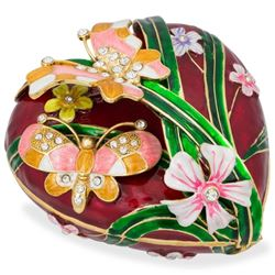 "Faberge Inspired 6.5"" Valentine's Love Heart with Butterfly Jewelry Box"