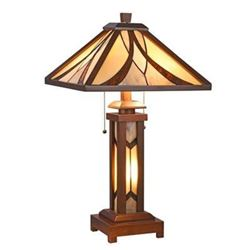 "GORDON Tiffany-style Mission 3 Light Double Lit Wooden Table Lamp 15"" Shade"