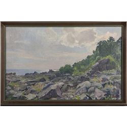 Signed Danish Coastal Landscape Oil Painting
