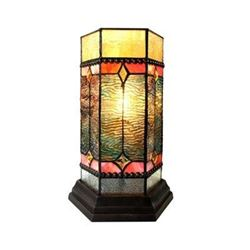 """NEILSON Tiffany-glass Accent Pedestal 1 Light Mission table lamp 14"""" Tall"""