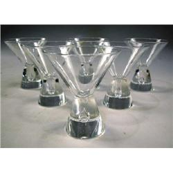 A SET OF SIX CRYSTAL  HOUR GLASS  SHAPED CORDIALS BY STUEBEN