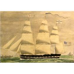 A WATERCOLOR OF SHIP EDWINA