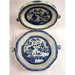 TWO CHINESE EXPORT PORCELAIN VEGETABKE WARMING DISHES