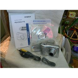 DIGITAL CAMERA - OLYMPUS FE210 - WITH USB CORD & VIDEO CORD - BOOKS, DISKS & BOX - WORKING - NEW DUR