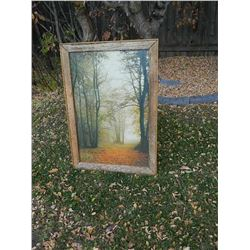 """FRAMED PICTURE - PATH IN WOODS - RUSTIC WOOD FRAME - 40 ½"""" TALL"""