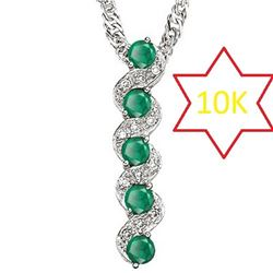 **** FEATURE ITEM **** PENDANT - 2/3 CT EMERALD & DIAMOND IN 10KT SOLID WHITE GOLD - INCLUDES CERTIF